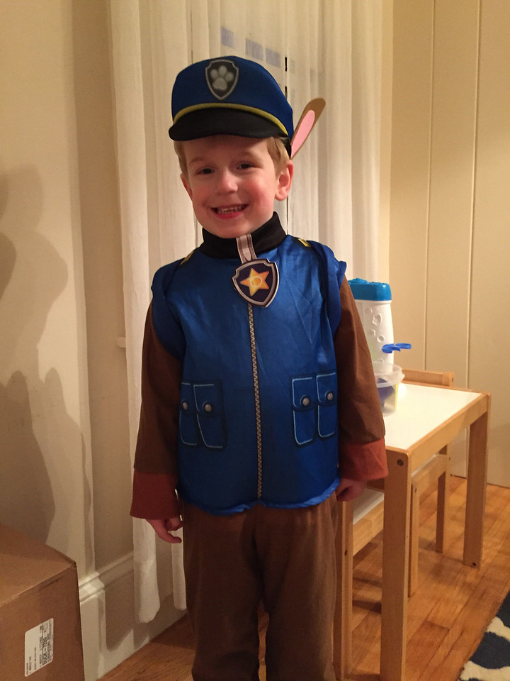 Halloween 2014. Chase the pup from Paw Patrol.