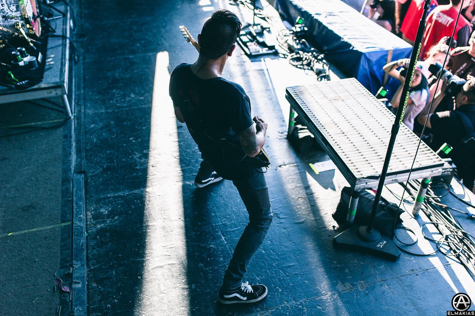 Jesse Barrera with Pierce the Veil at Warped Tour 2015 by Adam Elmakias