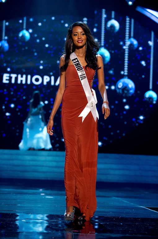 . Miss Ethiopia 2012 Helen Getachew competes in an evening gown of her choice during the Evening Gown Competition of the 2012 Miss Universe Presentation Show in Las Vegas, Nevada, December 13, 2012. The Miss Universe 2012 pageant will be held on December 19 at the Planet Hollywood Resort and Casino in Las Vegas. REUTERS/Darren Decker/Miss Universe Organization L.P/Handout