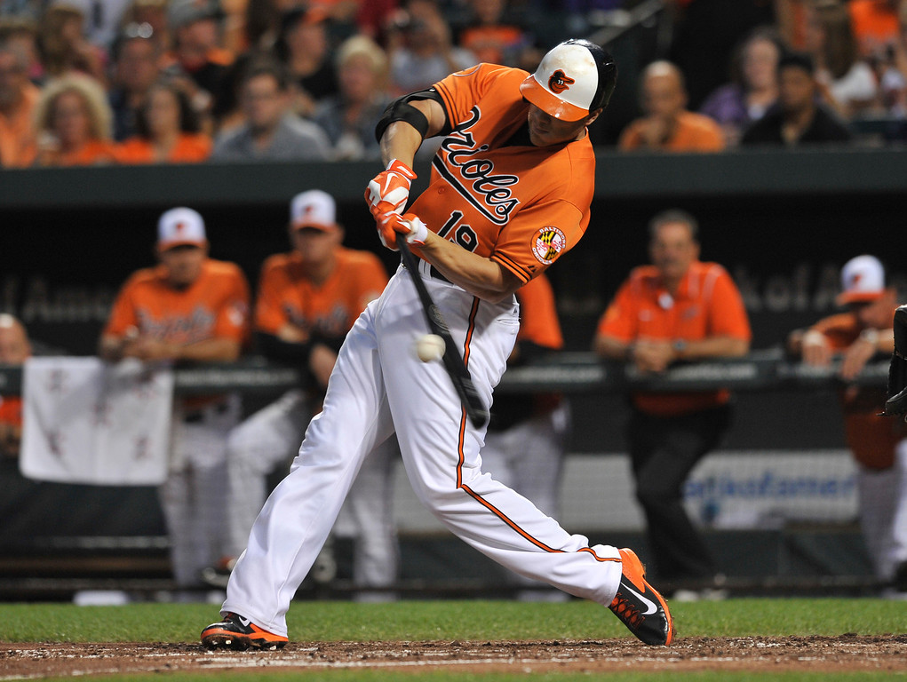 . Baltimore Orioles\' Chris Davis connects for a double against the Colorado Rockies in the third inning of a baseball game on Saturday, Aug. 17, 2013, in Baltimore.(AP Photo/Gail Burton)