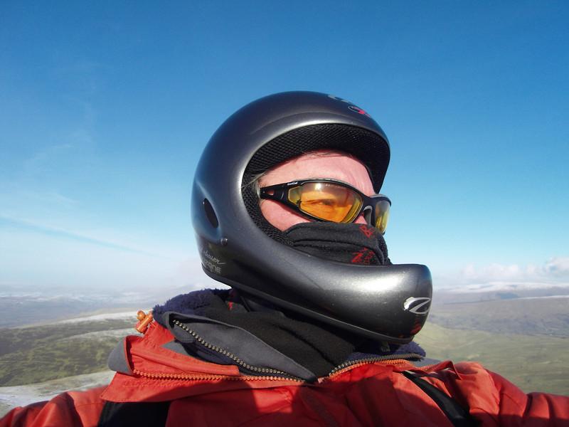 A 'rare' photo of self in flight mode ... new helmet!