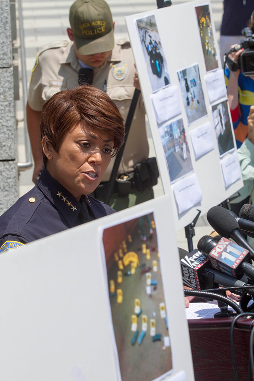 . Santa Monica Police Chief Jacqueline Seabrooks  speaks during a news conference held by Santa Monica Police, Saturday June 8, 2013, in Santa Monica, Calif., Santa Monica Police Chief Jacqueline Seabrooks says the gunman who killed four people in a chaotic rampage planned the attack and had 1,300 rounds of ammunition.  (AP Photo/Ringo H.W. Chiu)