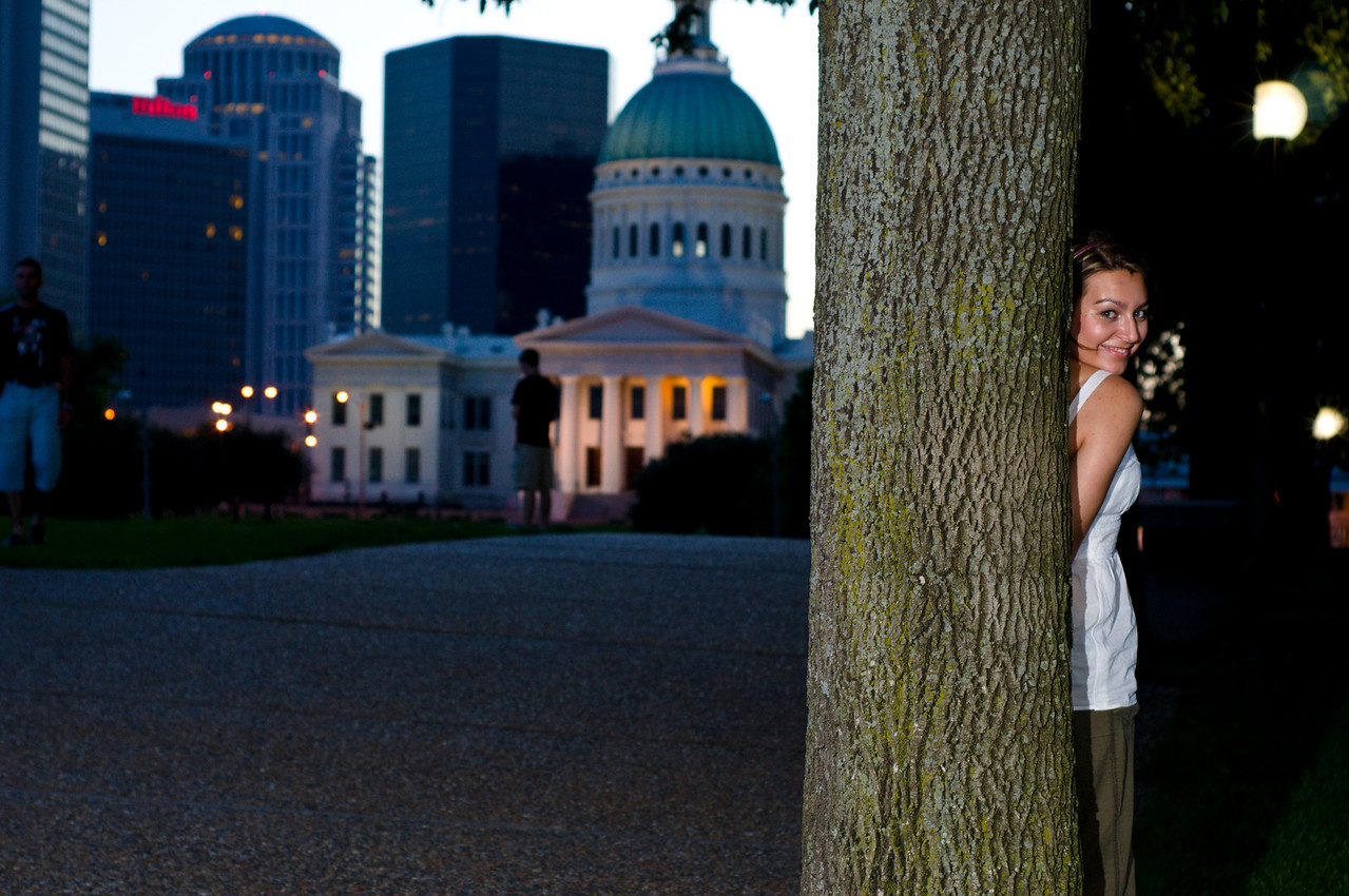 Near The Arch in Saint Louis. Old court house in the background.