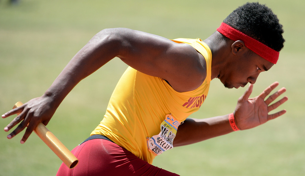 . Long Beach Wilson competes 4x100 Invitational during the Mt. SAC Relays in Hilmer Lodge Stadium on the campus of Mt. San Antonio College in Walnut, Calif., on Saturday, April 19, 2014.  (Keith Birmingham Pasadena Star-News)