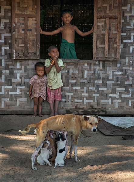 Street scene in a small village in central Myanmar.  Myanmar, 2017