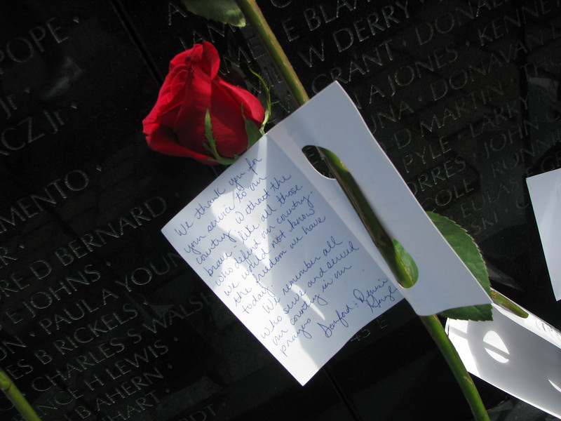 One of the flowers on the Vietnam Wall. We went on Father's Day. It was stunning.
