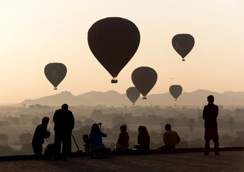 Hot-air balloons over Bagan
