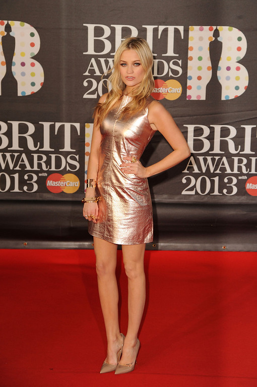 . Laura Whitmore attends the Brit Awards 2013 at the 02 Arena on February 20, 2013 in London, England.  (Photo by Eamonn McCormack/Getty Images)