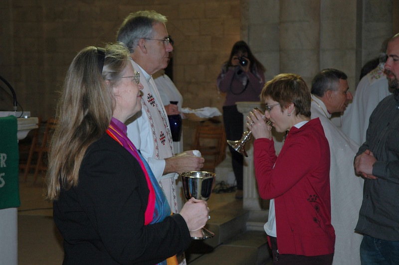 ELCA Montana Synod Bishop Jessica Crist, left, and the Rev. Mark Holman, second from left, Lutheran Church of the Redeemer, Jerusalem, served communion at regular services Jan. 11.