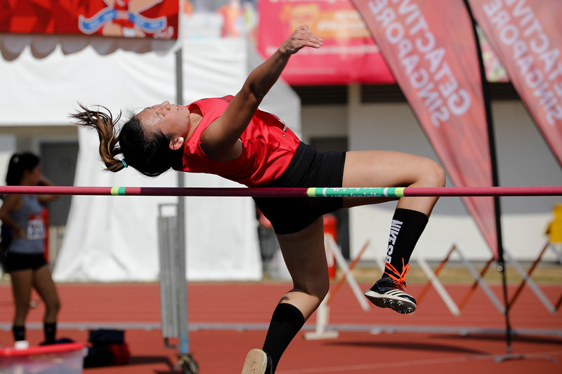 Women High Jump U19 & Corporate Open - Players in action at Women High Jump U19 & Corporate Open, GetActive Singapore at the home of Athletics, on 5th Aug 2017. Photo by Sanketa Anand/Sport Singapore