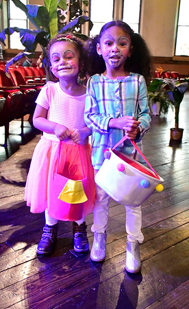 4/20/2019 Mike Orazzi | Staff Analeah Rosa,3, and Isabelle Richards,4, during the 6th annual Easter Egg Hunt held at Trinity-On-Main in downtown New Britain on Saturday.