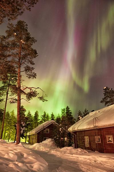 Northern Lights Over Ounasvaaran Lakituvat