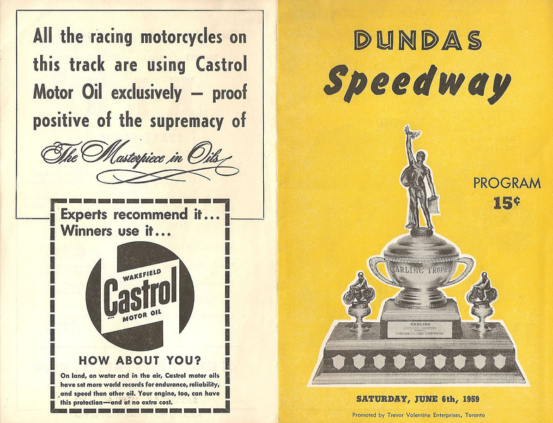 1959 June 6th Dundas Speedway nr Toronto/Hamilton  program cover. They were trying to promote English style dirt track racing. Photo courtesy of Jeff Crawford Brampton Ontario.