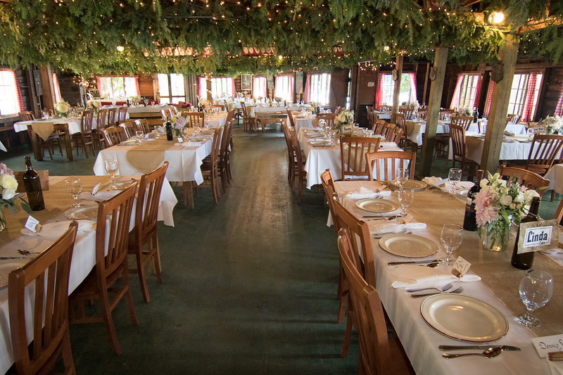The Pathfinder Dining Hall, organized for one of the many weddings Camp has hosted in the Spring and Fall