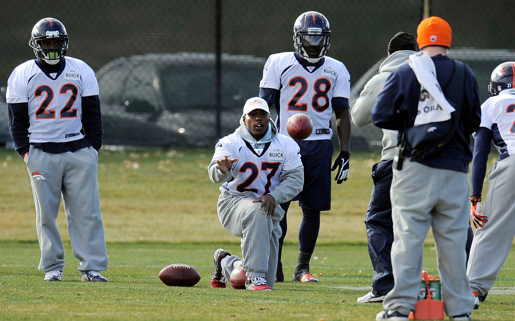 . Denver Broncos  Knowshon Moreno (27) helps out weigh drills during practice November 4, 2013 at Dove Valley (Photo by John Leyba/The Denver Post)