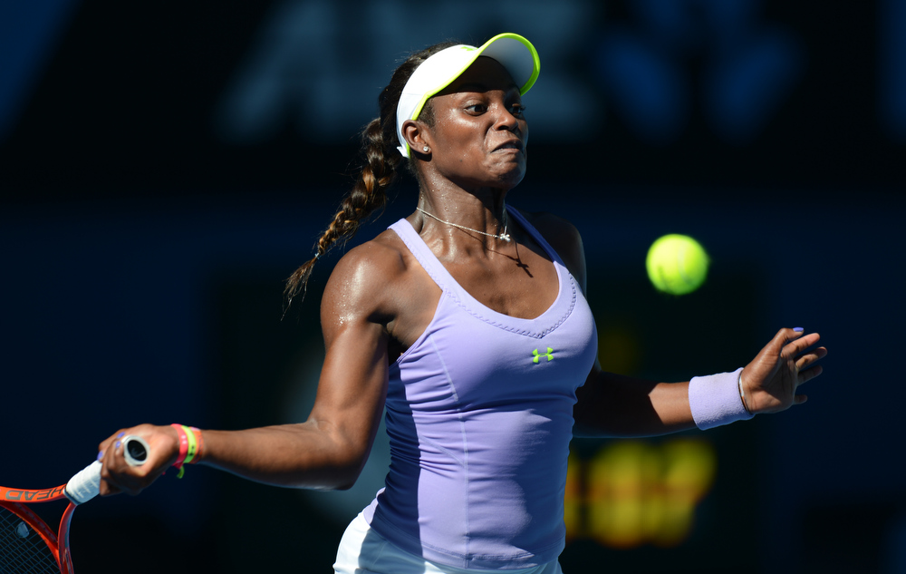 Description of . Sloane Stephens of the US plays a return during her women's singles semi-final match against Belarus's Victoria Azarenka on the eleventh day of the Australian Open tennis tournament in Melbourne on January 24, 2013.  GREG WOOD/AFP/Getty Images