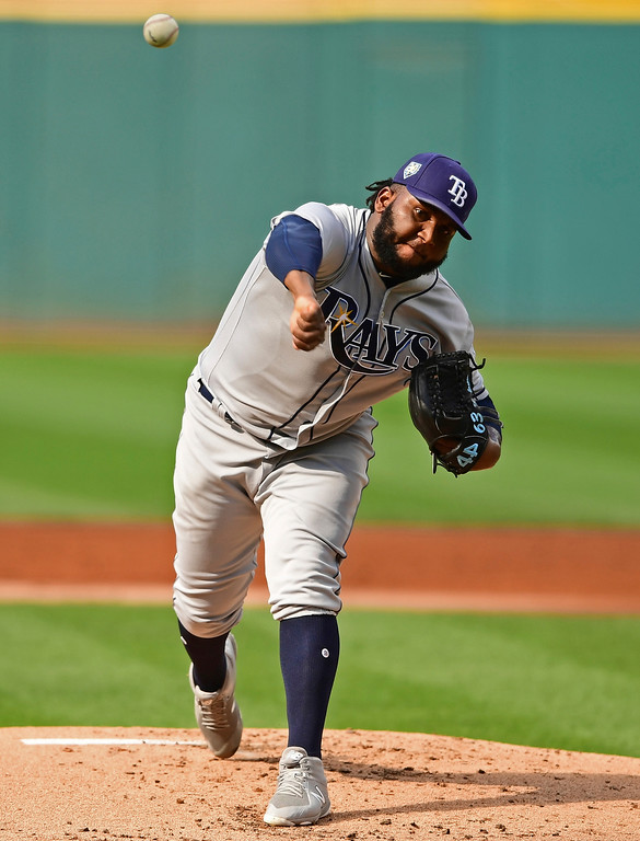 . Tampa Bay Rays starting pitcher Diego Castillo delivers in the first inning of a baseball game against the Cleveland Indians, Sunday, Sept. 2, 2018, in Cleveland. (AP Photo/David Dermer)