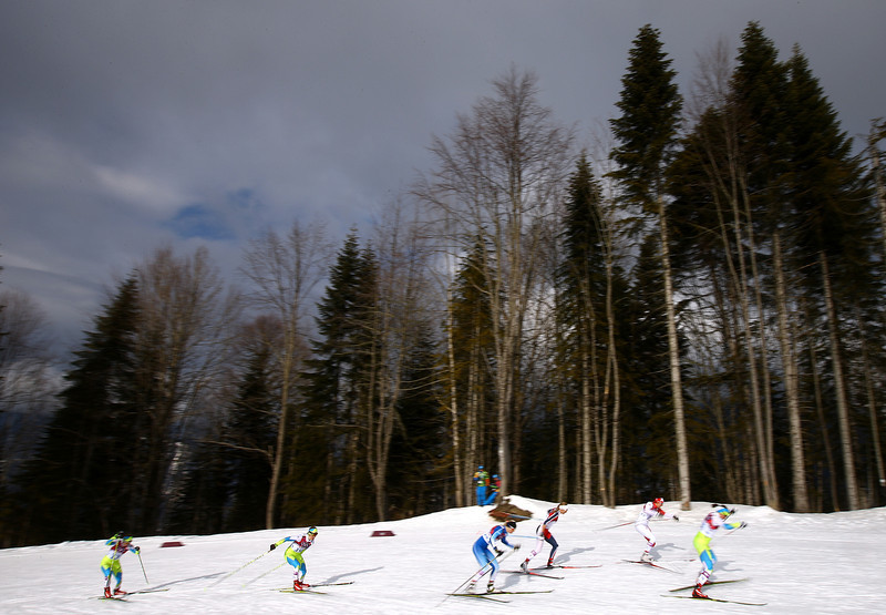 . Skiers compete in Finals of the Ladies\' Sprint Free during day four of the Sochi 2014 Winter Olympics at Laura Cross-country Ski & Biathlon Center on February 11, 2014 in Sochi, Russia.  (Photo by Doug Pensinger/Getty Images)
