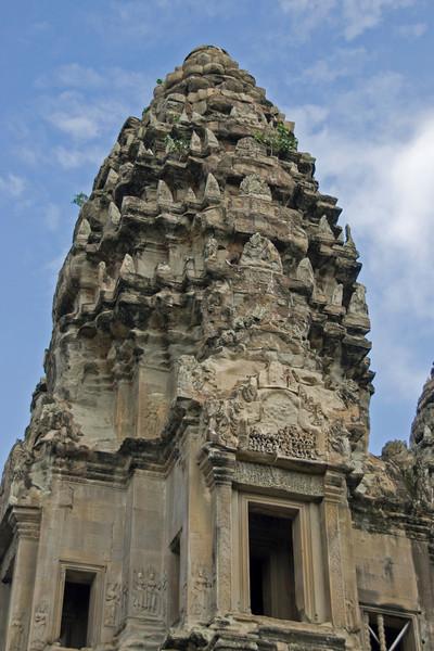 Closer look at an Angkor Wat tower in Cambodia