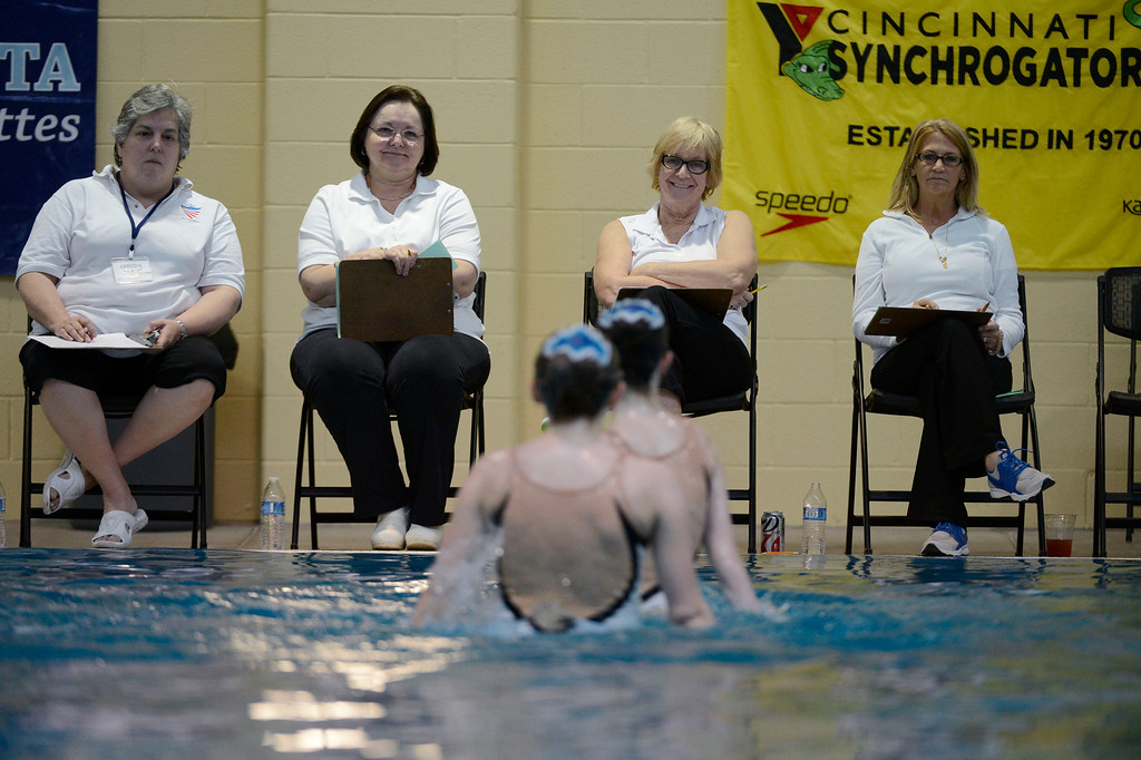 . THORNTON, CO. - MARCH 10: Judges Andrea Anderson , Britt Rooney, Linda Witter and Shelley Boskey look on duirng a duet performance at The Rocky Mountain Synchronized Swimming North Zones Championships  March 10, 2013 at Veterans Memorial Aquatic Center. (Photo By John Leyba/The Denver Post)