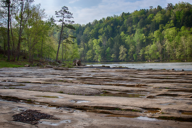 4-21-17.  One of my favorite views of the Cumberland River.  The corrugated stone leading to the river.