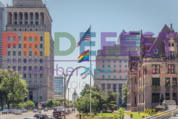 Pride/Trans Flag Raising City Hall STL