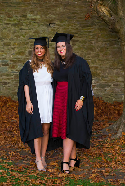 04/11/2016. Waterford Institute of Technology (WIT) Conferring Ceremonies November 2016: Pictured are Kyra Zumot from Youghal who graduated with a BA (Hons) in Design (Visual Communications) and Jess Lawton from Youghal who graduated with a BA (Hons) in Exercise and Health Studies. Picture: Patrick Browne