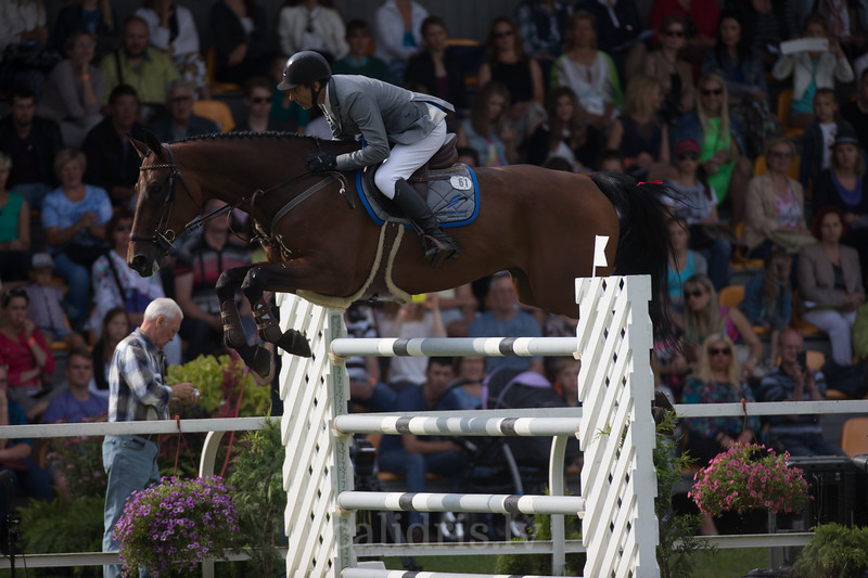 Gunnar KLETTENBERG (EST) with horse TRAFFIC (61)  jumps over the obstacle, FEI World Cup Qualifying competition, CSI2*-W, Qualifier for OG RIO 2016, Riga, 02.08.2015