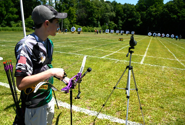 6/16/2018 Mike Orazzi | Staff Alex Black during archery at the Nutmeg State Games Saturday in New Britain.