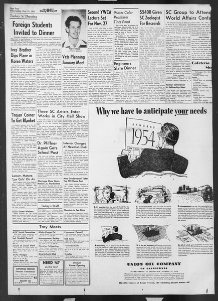 Daily Trojan, Vol. 43, No. 47, November 21, 1951