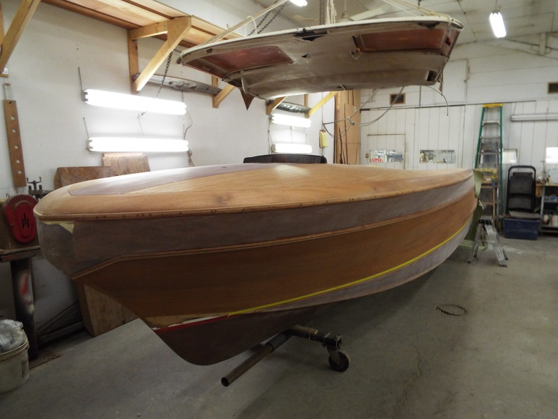 Front port view of the top plank sanded after three coats of epoxy were applied.
