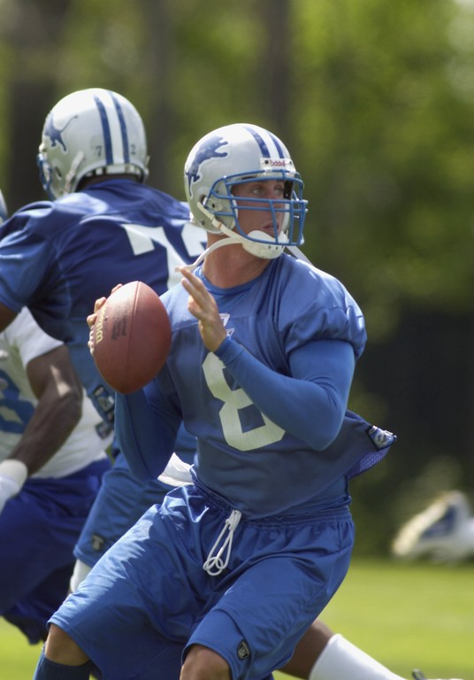 . Detroit Lions QB\'s #8  Mike McMahon  during workouts this afternoon.