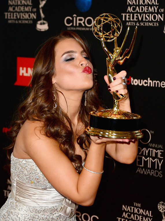 . Actress Kristen Alderson poses with the Outstanding Younger Actress In A Drama Series award for \'General Hospital\' in the press room during The 40th Annual Daytime Emmy Awards at The Beverly Hilton Hotel on June 16, 2013 in Beverly Hills, California.  (Photo by Mark Davis/Getty Images)