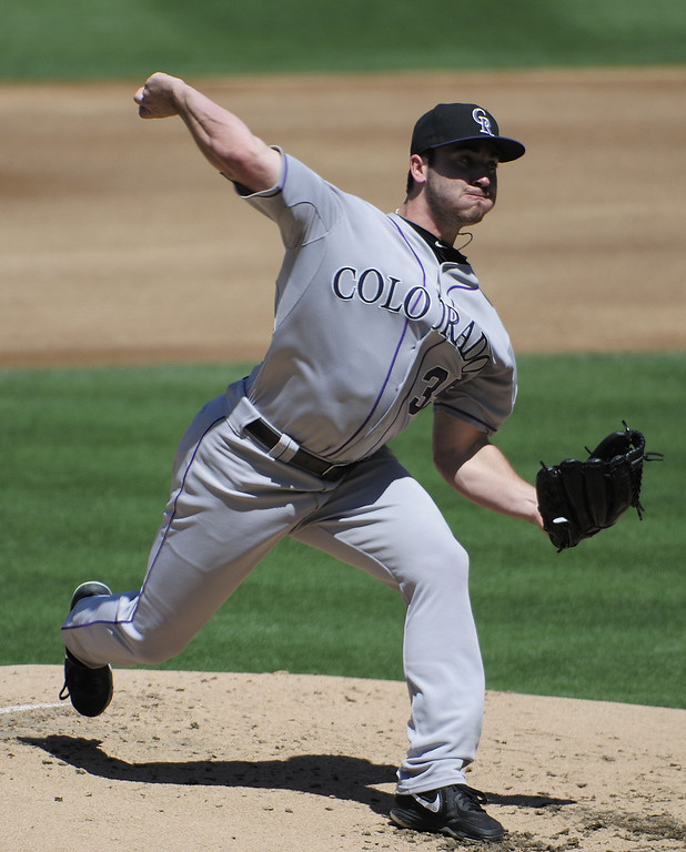 . Chad Bettis #35 of the Colorado Rockies pitches during the second inning of a baseball game against the San Diego Padres at Petco Park on September 8, 2013 in San Diego, California.  (Photo by Denis Poroy/Getty Images)