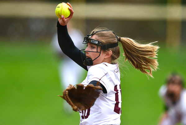 5/1/2019 Mike Orazzi | Staff Bristol Central's Peyton Greger (10) during Wednesday's softball game with Bristol Eastern at Casey Field.