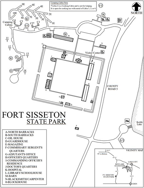 Fort Sisseton Historic State Park (Campground & Fort Map)
