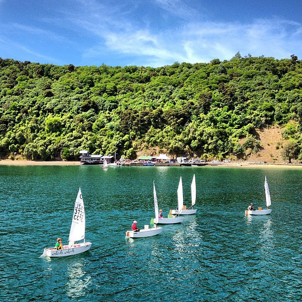 The local gym class takes a Sunday sail on Picton Harbor. The equivalent where I grew up: bowling. New Zealand wins.