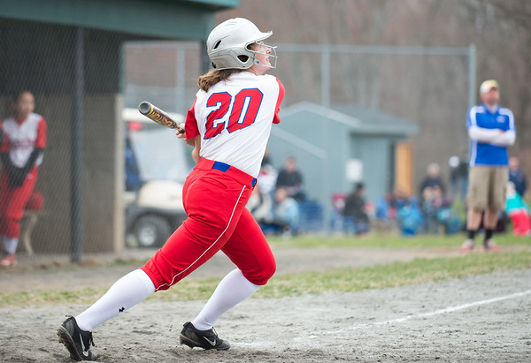 04/12/19 Wesley Bunnell | Staff Berlin softball defeated Platt Tech in an afternoon home game at Sage Park on Friday. Julia Ladd (20) at bat.