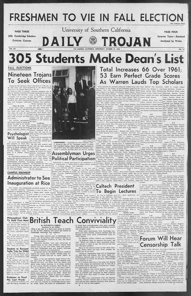 Daily Trojan, Vol. 54, No. 13, October 10, 1962