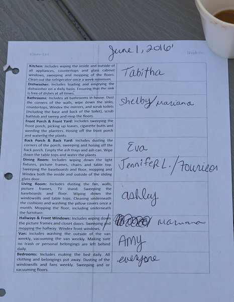 A chore sheet for the week of June 1, 2016. Residents of the All About Recovery young women's sober home are assigned rotating chores on a weekly basis. While required to keep the house clean on a daily basis, a 'deep clean' is performed once a week and residents must focus on the areas of the house they are assigned to clean. Tuesday, May 31, 2016.  (Joseph Forzano / The Palm Beach Post)