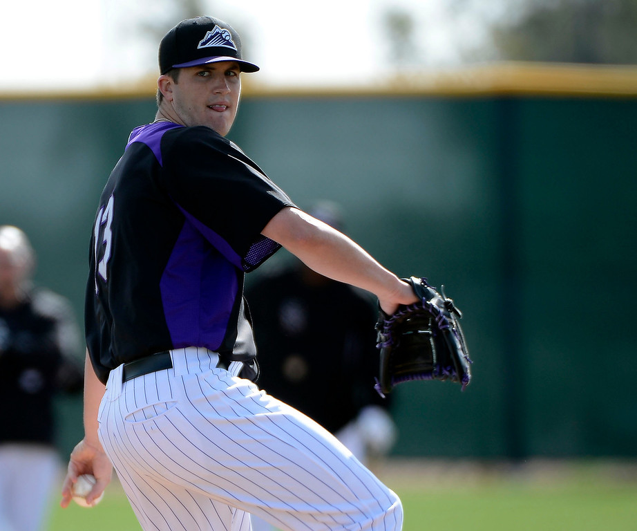 . SCOTTSDALE, AZ. - FEBRUARY 19: Colorado Rockies Drew Pomeranz (13) works on team fundamental during Spring Training February 19, 2013 in Scottsdale. (Photo By John Leyba/The Denver Post)