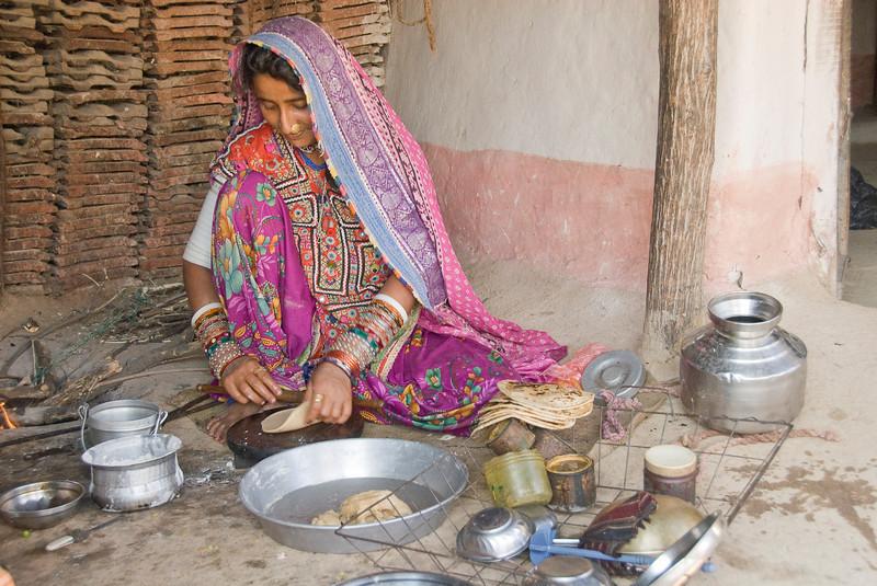 Woman Preparing Chapatties, Rann of Kachchh, Gudjarat, India