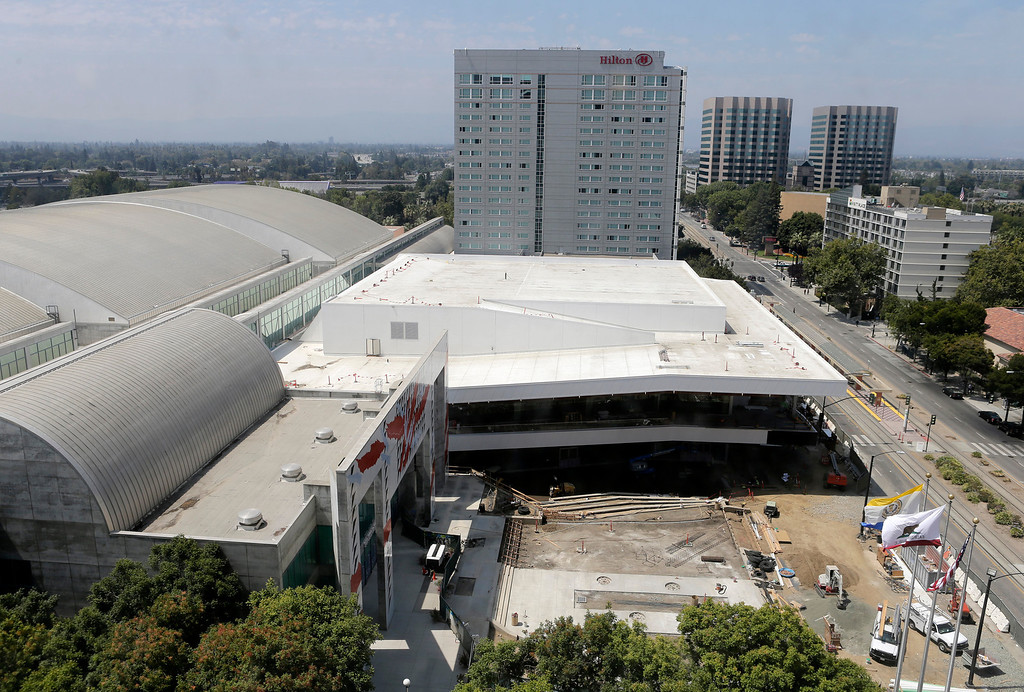 . The 125,000-square-foot  expansion and renovation project of the San Jose McEnery Convention Center is seen from the Marriot Hotel in San Jose, Calif. on Tuesday, Aug. 6, 2013.  (Gary Reyes/Bay Area News Group)