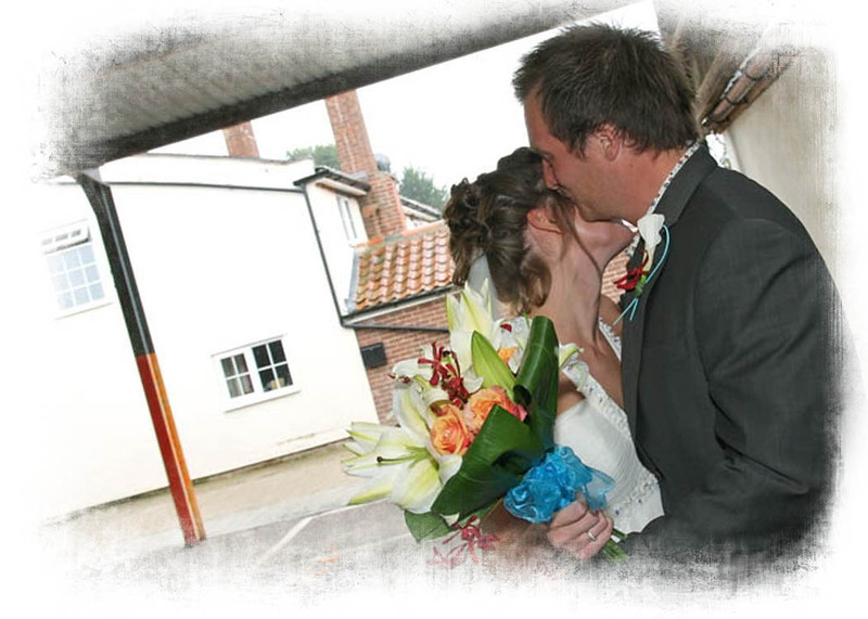 A moment out for a bride and groom after their wedding ceremony at Dairy Barns