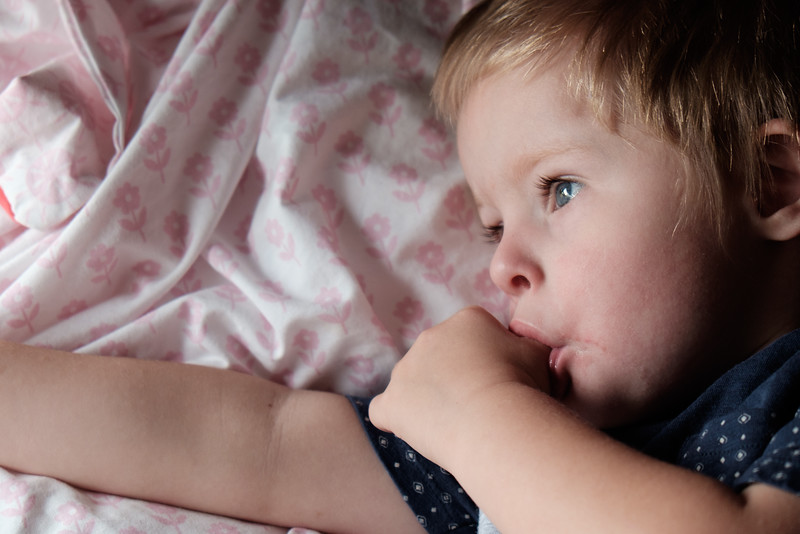 Close up of Child on Bed, Awake