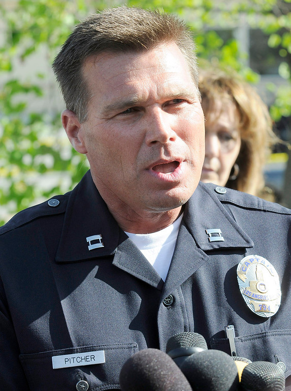 . Capt. Kris Pitcher speaks to the press. A 10-year-old girl who was reported missing from her family\'s Northridge home was found safe Monday afternoon in Woodland Hills, and police said it was unclear whether she had been abducted or ran away. After an 11-hour search, Nicole Ryan was found near a strip mall about six miles from her home, Los Angeles police Capt. Kris Pitcher said. Woodland Hills,CA 3/26/2013(John McCoy/Staff Photographer