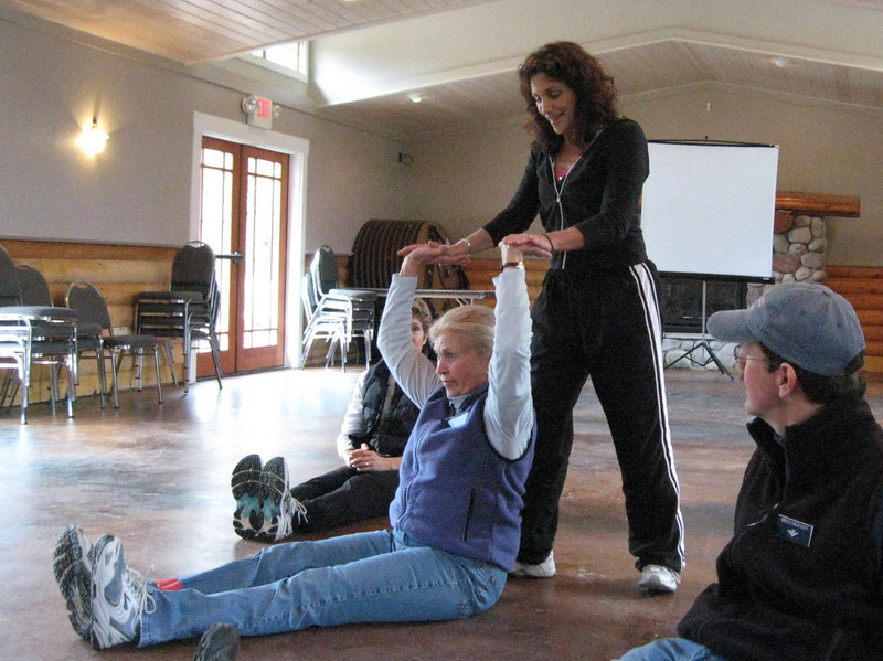 Personal trainer, Helayne Marchand, owner of Centre Ice Fitness taught ski specific exercises like shoulder presses.