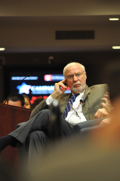 Dr. Ross Baker mediates a discussion between Frank Fahrenkopf &  Michael McCurry