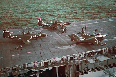 US Navy McDonnell F2H Banshee Airplane Aircraft Carrier Scene Pictures