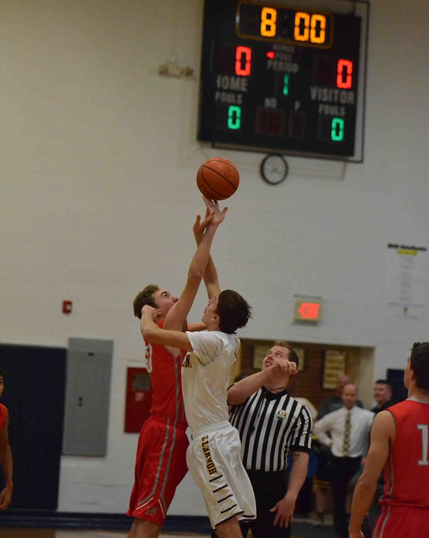 . Paul DiCicco - The News-Herald Opening Tip of Kirtland Hornets vs visiting Hawken Hawks on Jan 24.